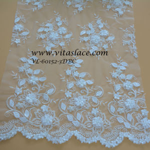 White Polyester Floral Lace Wedding Factory Vl-60152-3dbc pictures & photos