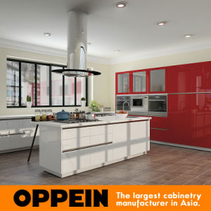 Oppein Modern White Red High Gloss Lacquer Kitchen Cabinets (OP16-L13) pictures & photos