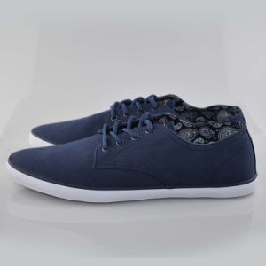 Dark Blue Casual Style Hiking Mens Vulcanized Rubber Canvas Shoes pictures & photos