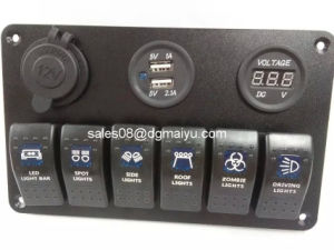 6 Gang Rocker Switch Panel/Cigarette Socket/USB Charger Panel for Marine/Boat pictures & photos