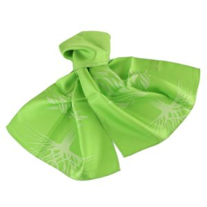 100% Silk Printed Logo Scarf Top Fashion Stylish Green Floral Uniform Scarf pictures & photos