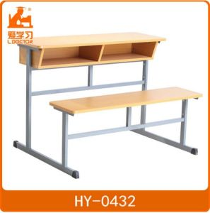 School Plywood Double Chairs with Attached Table pictures & photos