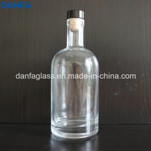 750ml Extra White Glass Whiskey/Tequila Bottle with Bartop (DVB151)