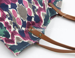 Custom Cotton Canvas Lady Bag with PU Handle pictures & photos