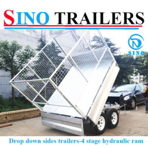 Drop Down Side Double Axle Hydraulic Trailer pictures & photos