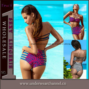 Women Strappy Lady Swimsuit Swimwear Bikin Swimming Wear (41310-2) pictures & photos