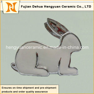 Silver Plating Porcelain Rabbit Shape Candle Holders for Easter Decoration pictures & photos