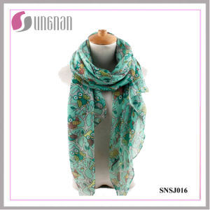 2016 Elegant Branches and Owls Pattern Printed Ladies/Women Voile Scarf pictures & photos