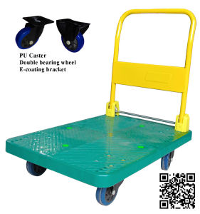 300kg Green Plastic Platform Foldable Hand Trolley with PU Caster pictures & photos