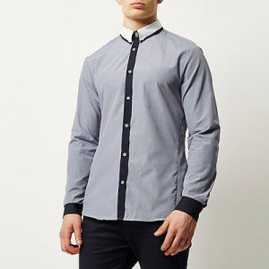 Navy Smart Contrast Placket Men Long Sleeve Shirt pictures & photos