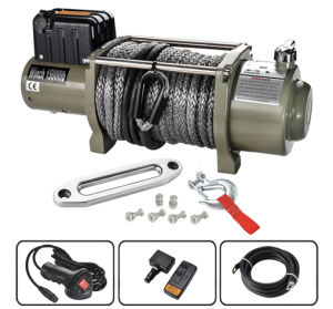 12V Electric Winch 15000lbs /6804kg Synthetic Rope with Wireless Remote Control
