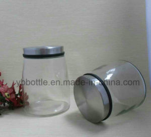 Large Size Storage Glass Jar, Clear Glass Straight Sided Jars W/ Black Phenolic Lined Caps pictures & photos