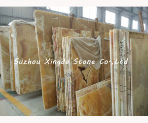 Honed Yellow Onyx Slab Instock
