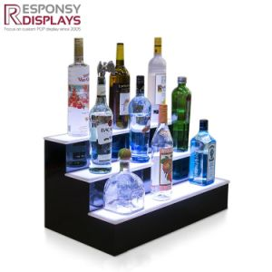 Beautiful Design Counter Beer Bottle Stand Acrylic Wine Display Rack with LED Light pictures & photos