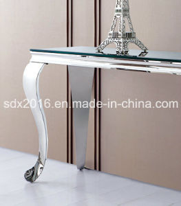 Hot Sale Home Furniture Glass Table Stainless Steel pictures & photos