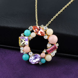 Charm Jewelry Colorful Stone Hoop Pendant Necklace pictures & photos