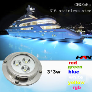 Surface Mount Marine Underwater Boat LED Light 3*3 W in RGB