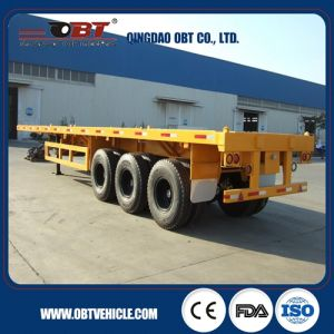 Three Axle Flatbed Container Semi Truck Trailer pictures & photos