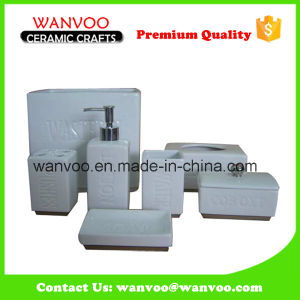 White Ceramic Porcelain Square Bath Accessory Set pictures & photos