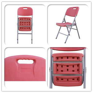 Red Color Plastic Outdoor Folding Chairs pictures & photos