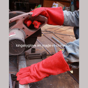 Standard Cow Split Leather Welding Work Glove (6504. RD) pictures & photos