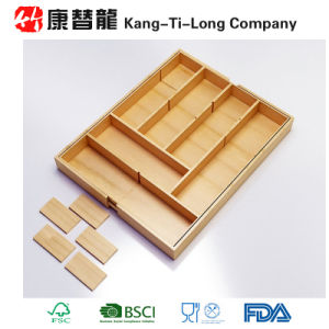 Eco-Friendly Bamboo Cutlery Tray Basket Kitchen Drawer Organiser