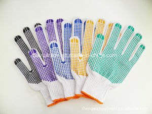 Double-Sided Plastic Work Glove for Export pictures & photos