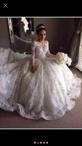 Lace Bridal Ball Gowns Muslim Long Sleeves Arabic Wedding Dresses Y20316 pictures & photos