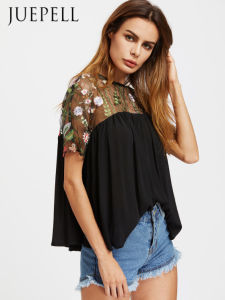 Embroidered Mesh Shoulder Button Keyhole Back Smock Blouse pictures & photos
