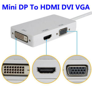 3 in 1 Mini Displayport (Thunderbolt) to DVI VGA HDMI TV Adapter Cable for Apple iMac and MacBook Surface Book Surface PRO 3/4 Thinkpad pictures & photos