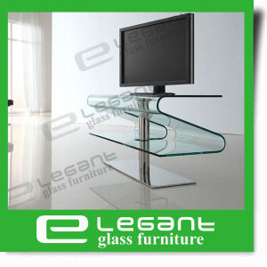 Contemporary Clear Glass TV Stand with High Gloss White Painting Drawers pictures & photos