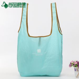 2017 Fashion Foldable Polyester Tote Bag Grocery Shopping Bag with Snap Button pictures & photos