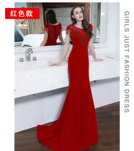 Mermaid Navy Red Prom Party Gowns Beaded Crystal Evening Dresses Z9002 pictures & photos