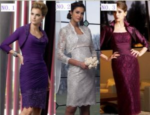 Custom 2013 New Designer Dresses Accept OEM ODM Short Lace Evening Dress Silver Purple Burgundy Mother of Th Bride Dress Free Bolero (M1315)