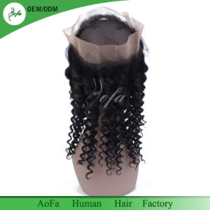 100% Human Hair Non Processed Virgin Hair Curly Frontal 360 Closure pictures & photos