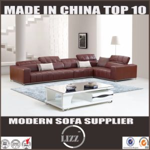 Pinyang Living China Top Grain Living Room Leather Sofa with Corner pictures & photos