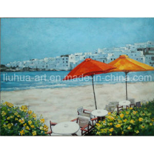 New Ocean Handmade Oil Painting with Sun Umbrella Beach and Sea for Wall (LH-108000) pictures & photos