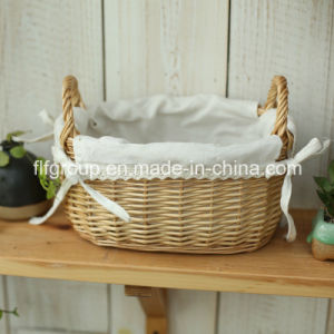 Customized Natural Color Handed Oval Wicker Storage Basket with Liner pictures & photos