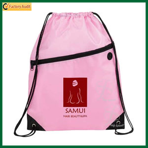 with Front Pocket and Earphone Hole Drawstring Backpack (TP-dB071) pictures & photos