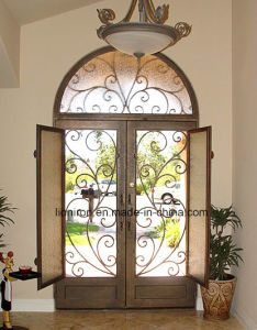 Wrought Iron Low Price Security Double Entry Door for House pictures & photos