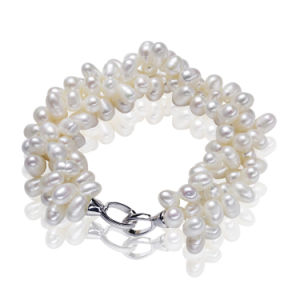 925 Sterling Silver Natural Pearl Bracelet for Sale