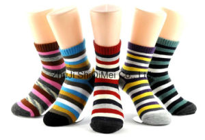 Zhuji Factory Customized Supply Fashion Colorful Strips Cotton Polyester Socks