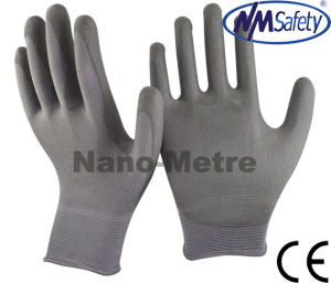Nmsafety Professional Nylon Coated Grey PU Gloves pictures & photos