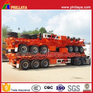 3 Axles Platform Semi Truck Trailer with Container Locks pictures & photos