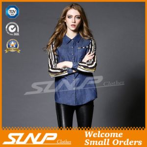 Wholesale Ladies Fashion Jeans with Chiffon Long Sleeve pictures & photos