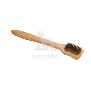 The Newest Barbecue Brush with Wooden Handle, Brush Steel Wire Brush Cleaning Brush (SJIE3121) pictures & photos
