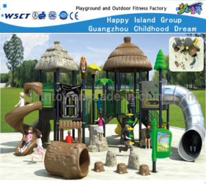 Wooden Roof Feature Children Slide Backyard Playsets Hf-10602 pictures & photos