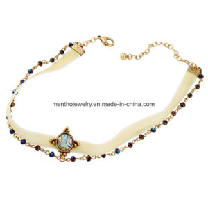 Fashion Elegant Multi-Layer Brilliant White Ribbon Choker Necklace for Women pictures & photos