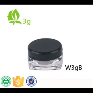 Square 5g Plastic Clear Cream Jar with Black Lid in Stock pictures & photos