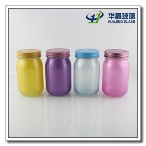 400ml Round Sprayed Glass Mason Jar with Screw Cap
